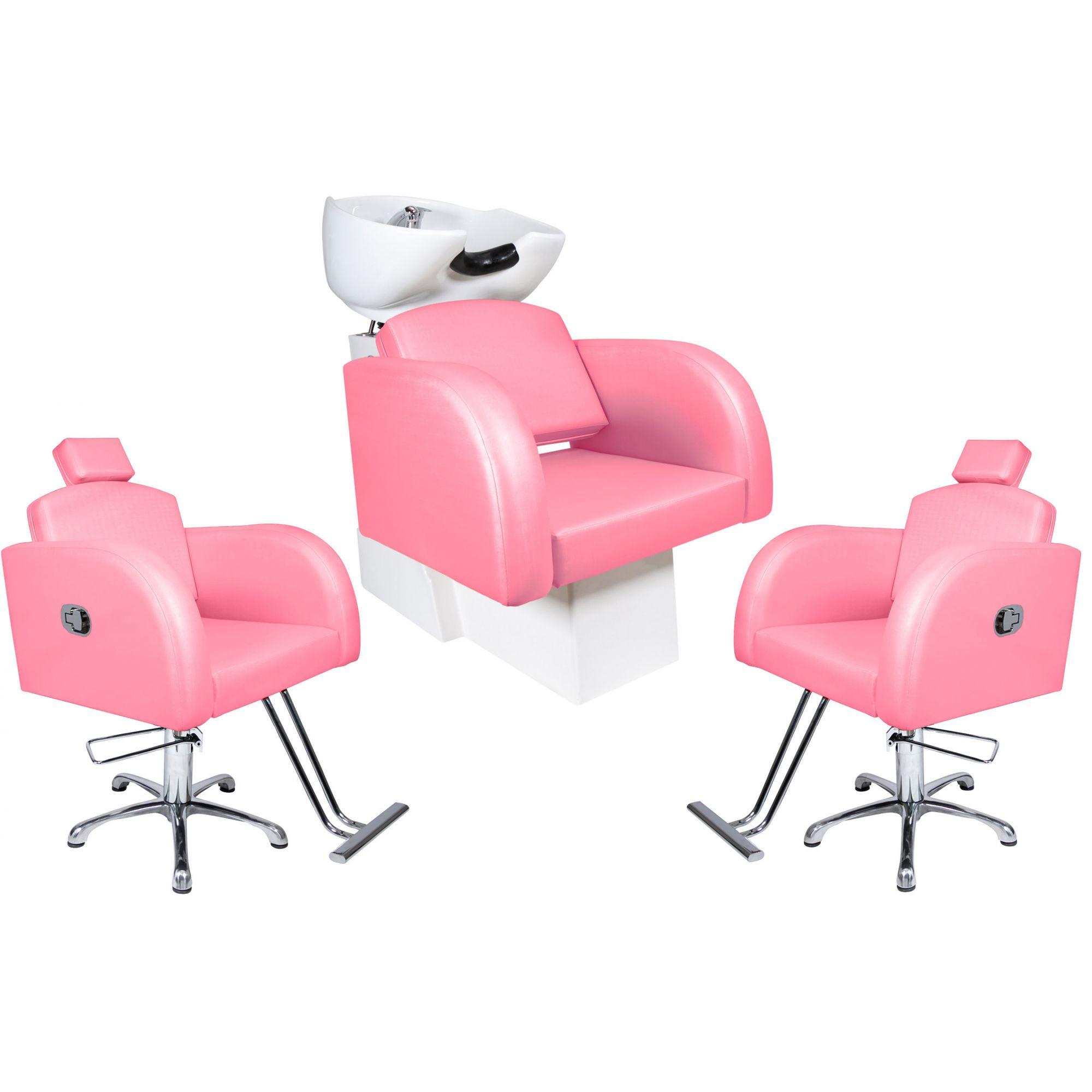 Destak Rosa - Lavatorio + 2 Cadeiras Reclináveis