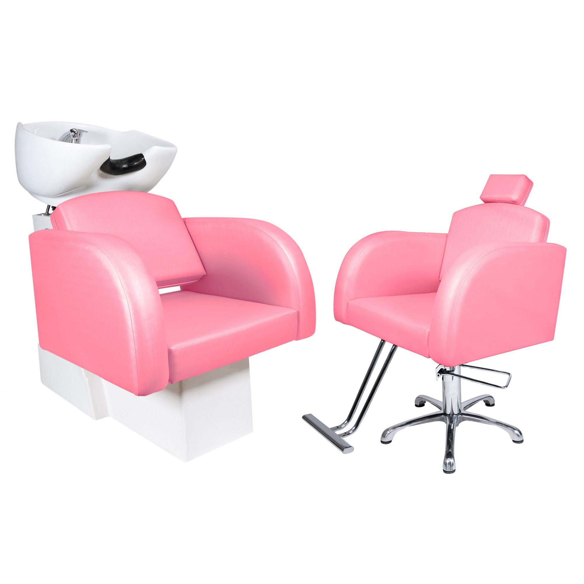 Destak Rosa - Lavatorio + Cadeira Hidráulica Fixa