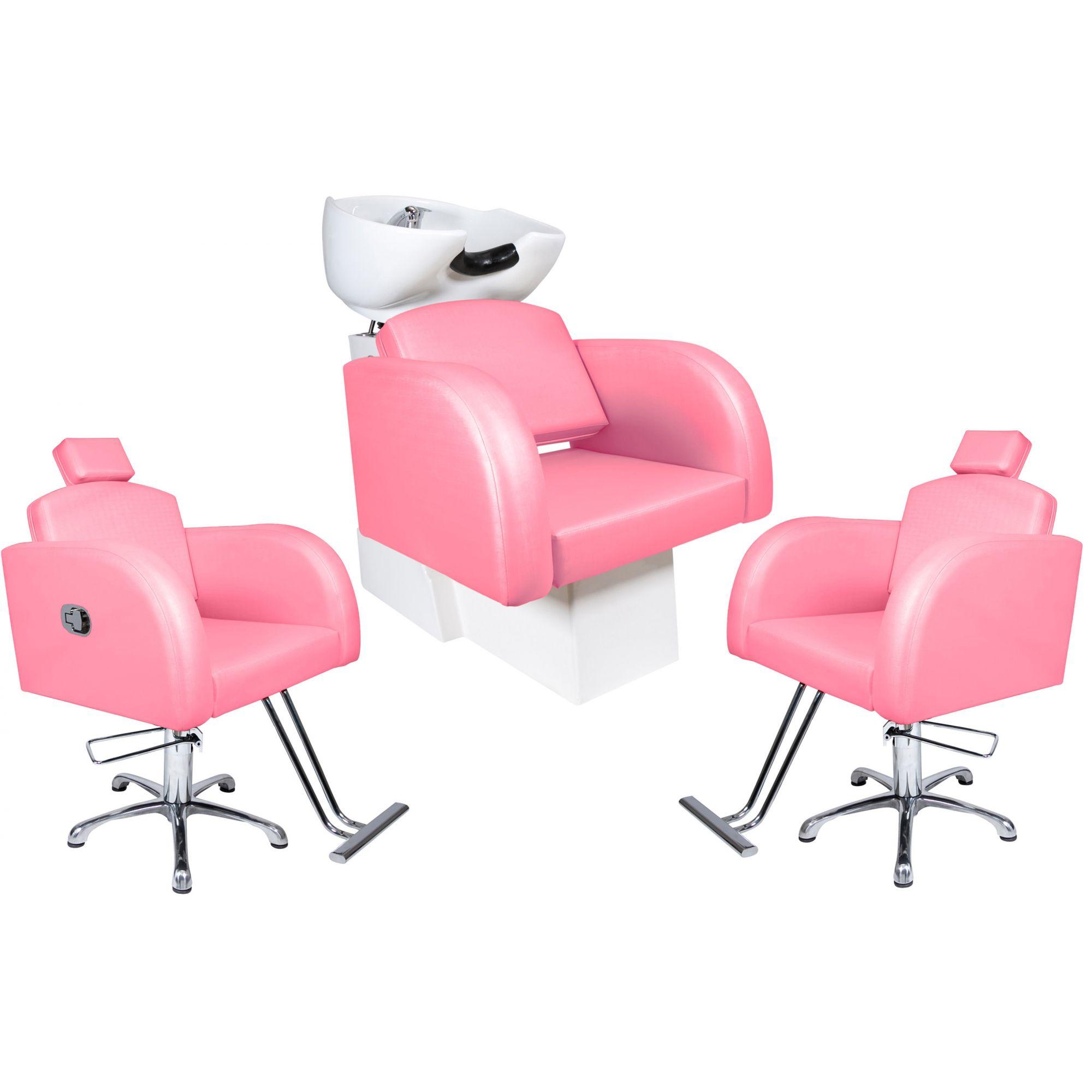 Destak Rosa - Lavatorio + Cadeira Reclinável + Cadeira Fixa