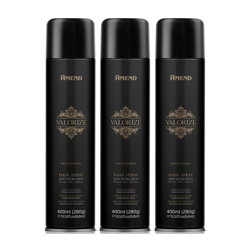 Kit 3 Und Hair Spray Ultra Forte Valorize 400ml Amend