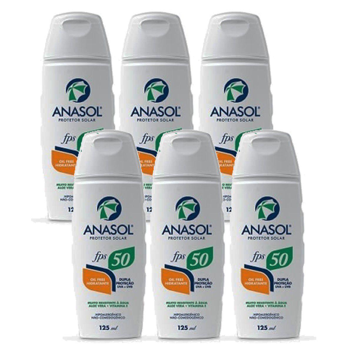 Kit 6 Und Protetor Solar Anasol Fps 50 Oil Free Hipoalergênico 125 ml