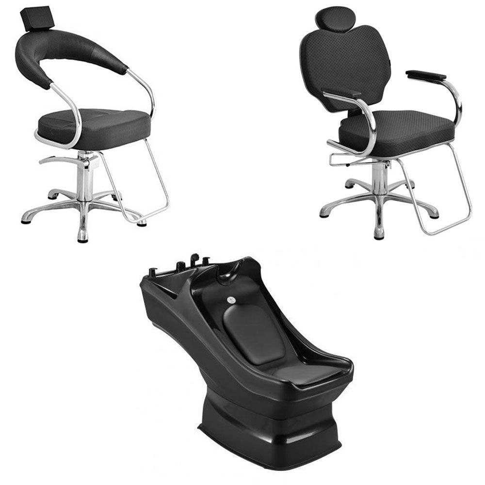 Kit Cadeira Fixa Futurama + Cadeira Recinável Gobbi + Lavatório Veron