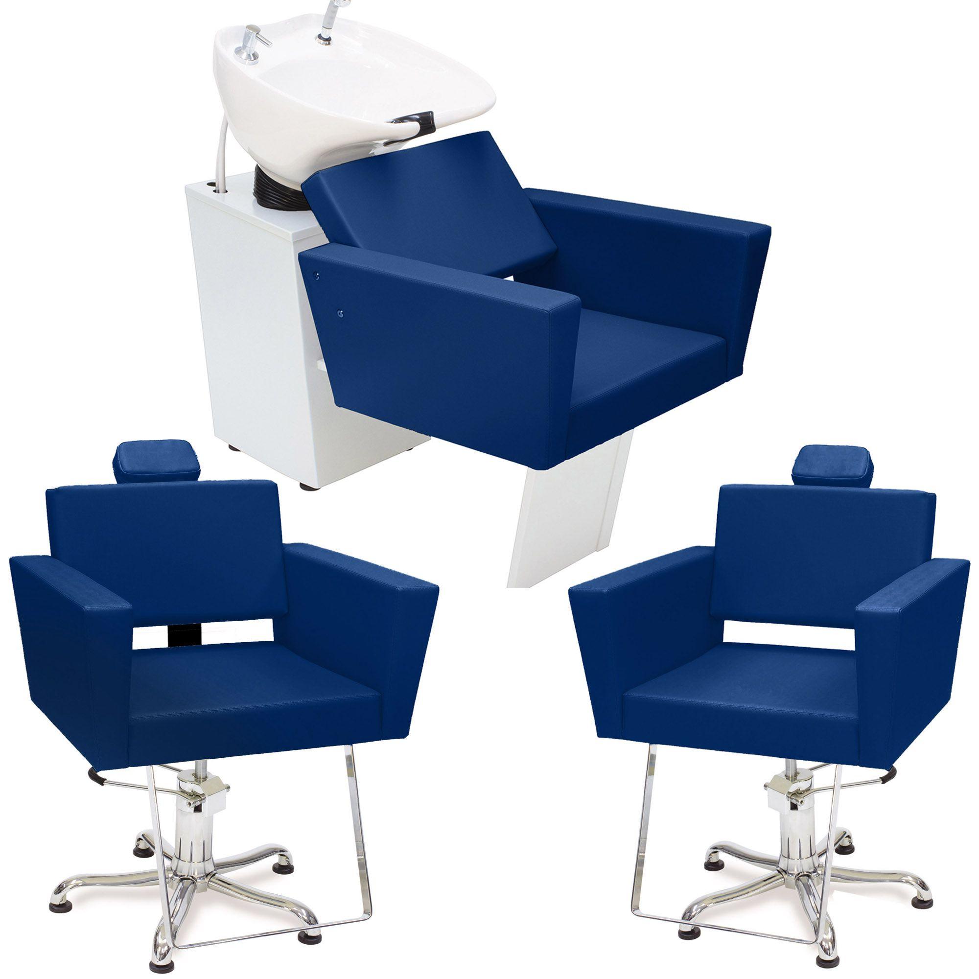 Kit cadeira fixa niagara + cadeira reclinável niagara + lavatório niagara