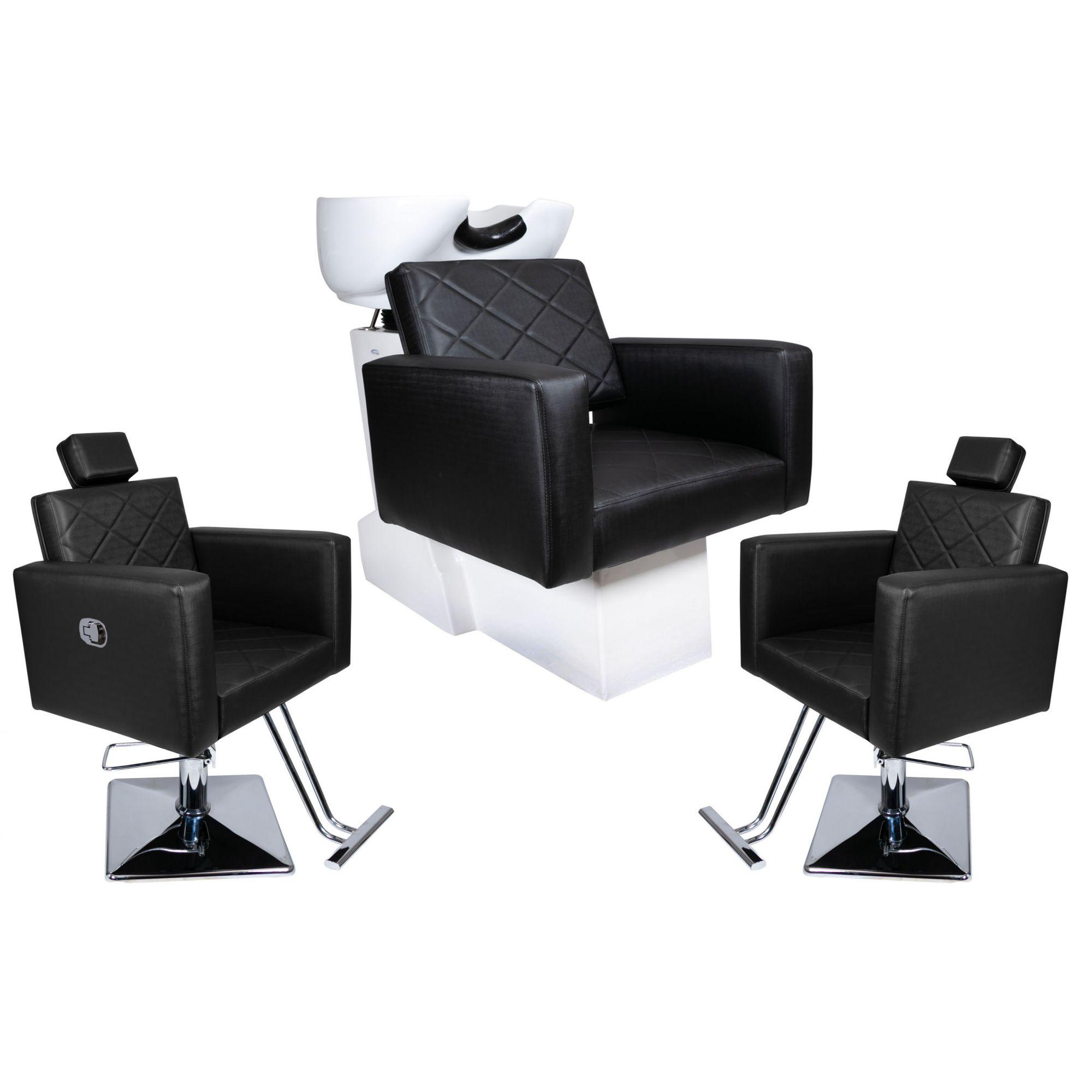 KIT Evidence - 1 Cadeira Fixa + 1 Cadeira Reclinável + 1 Lavatório com Bases Quadradas