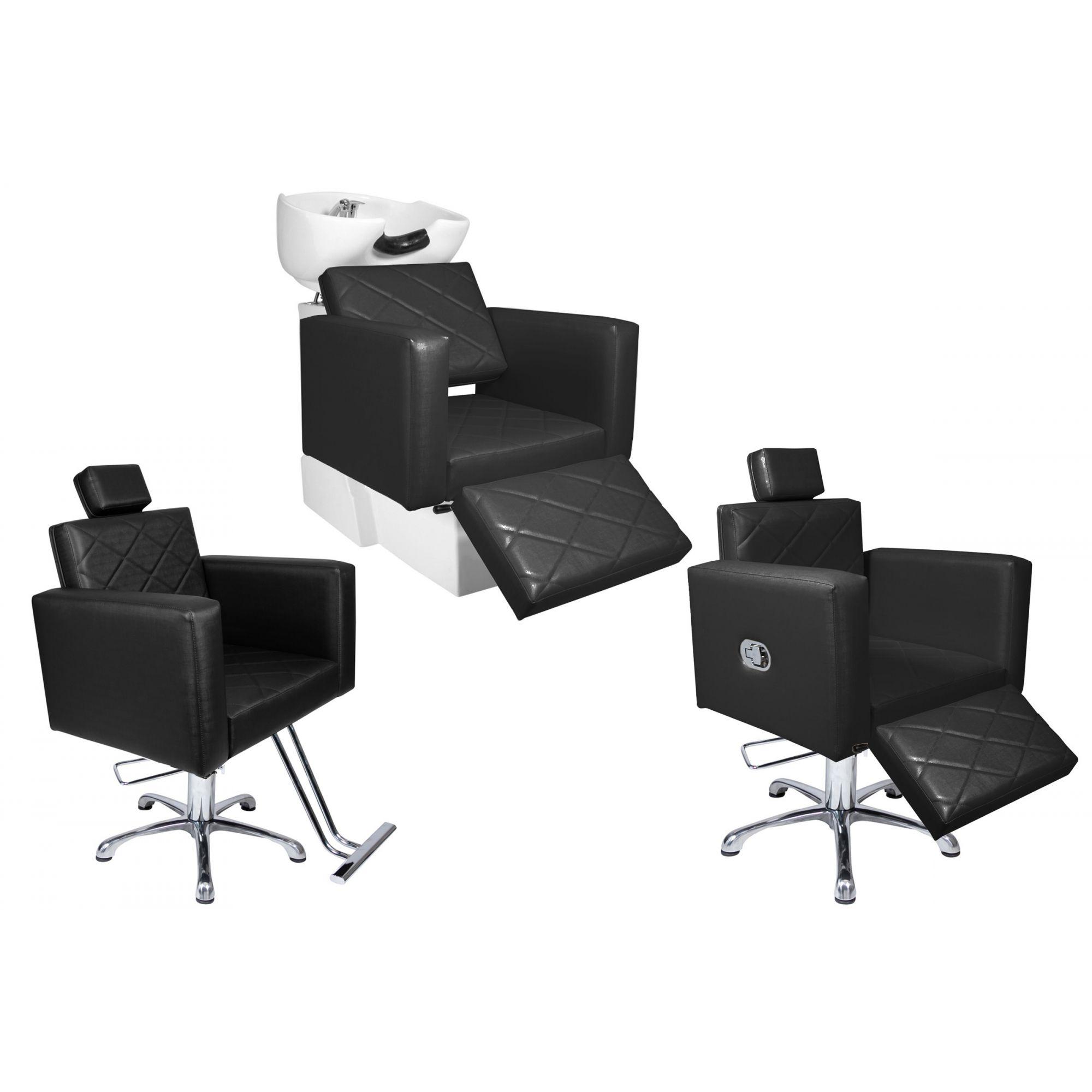 KIT Evidence - 1 Cadeira Fixa + 1 Cadeira Reclinável Com Descanso + 1 Lavatório Com Descanso