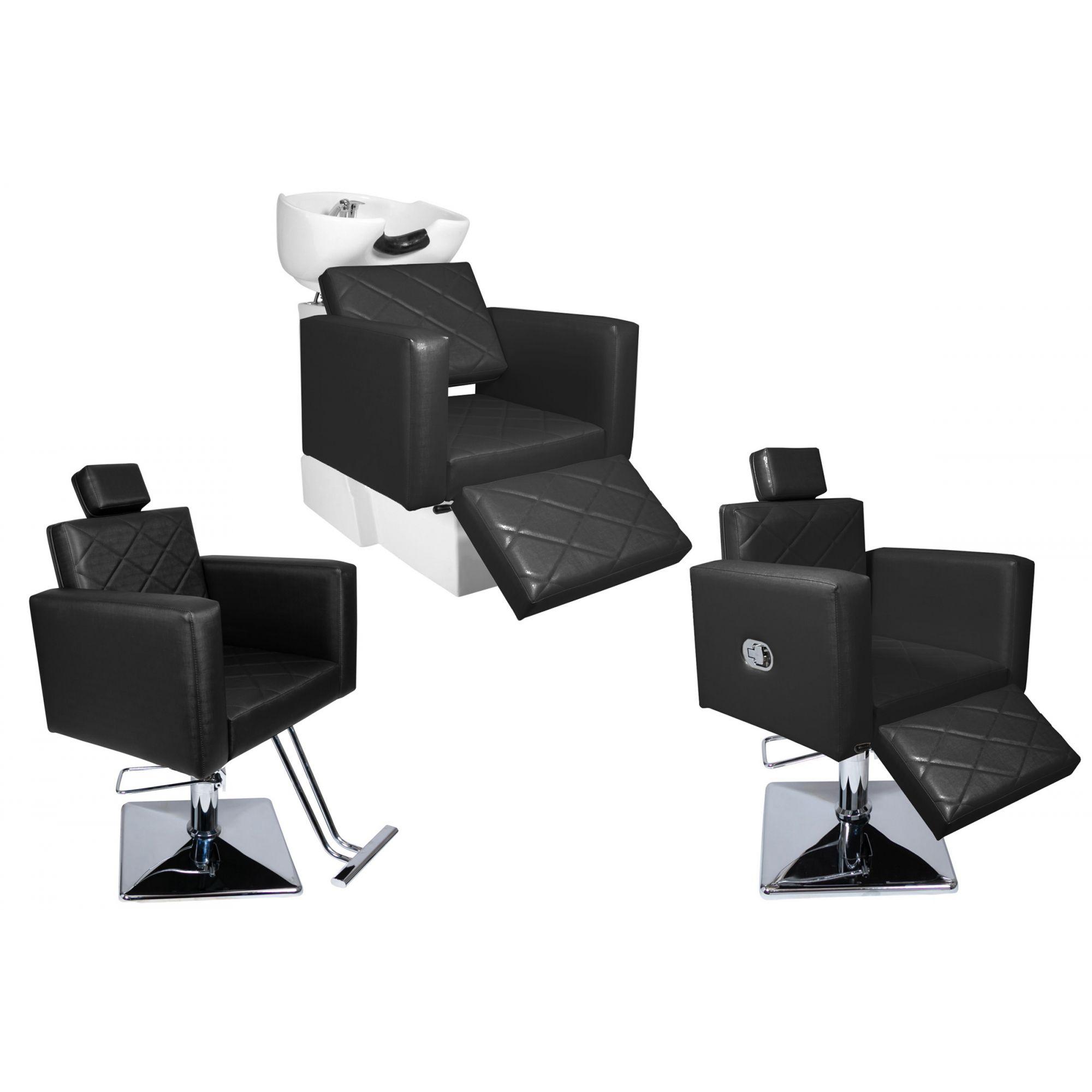 KIT Evidence - 1 Cadeira Fixa + 1 Cadeira Reclinável Com Descanso + 1 Lavatório Com Descanso - Base Quadrada