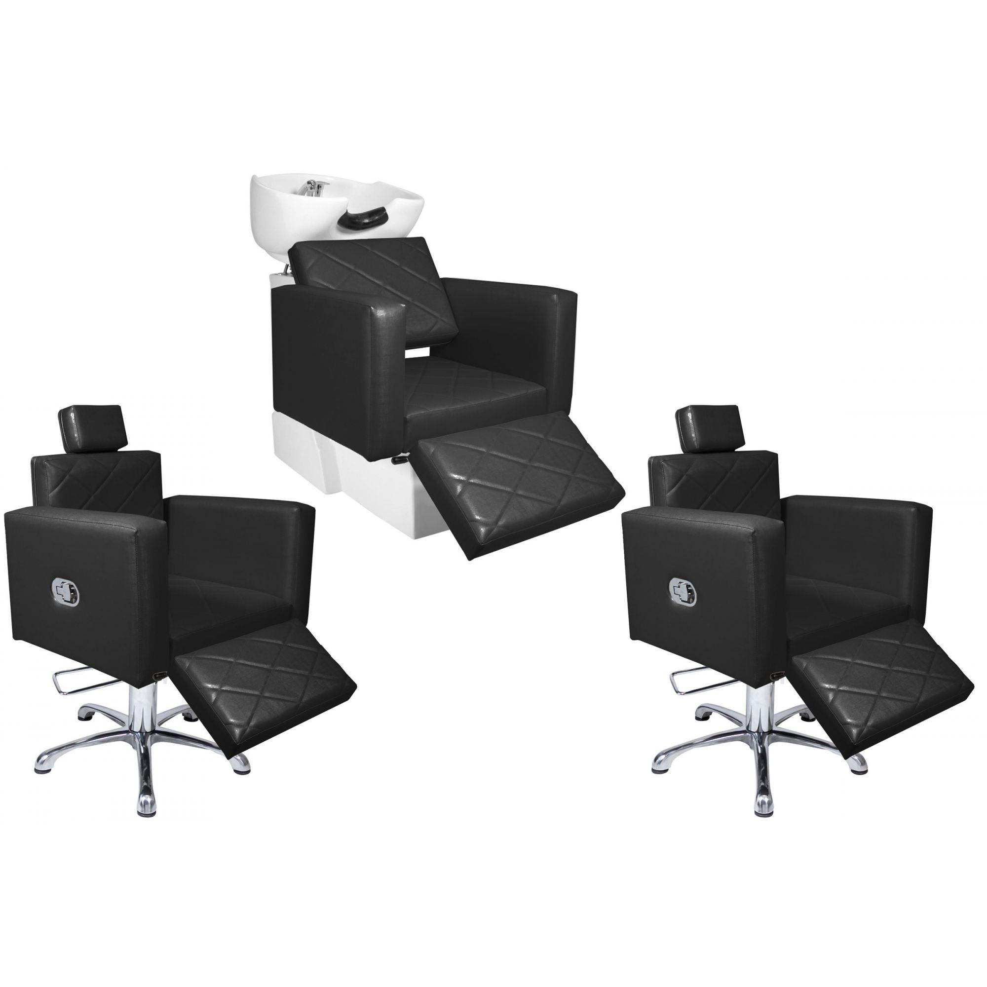 KIT Evidence - 2 Cadeiras Reclináveis Com Descanso de Pé + 1 Lavatório Com Descanso de Pé
