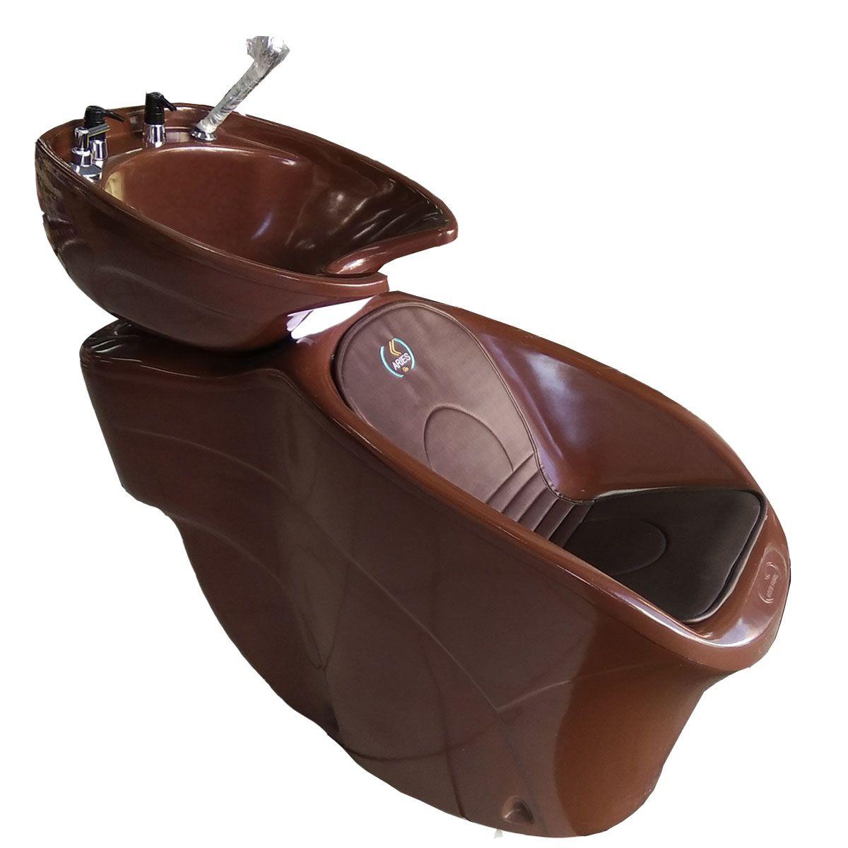 Kit Lavatorio Aries Marrom + Cadeira Futurama Base Aluminio + Carrinho Auxiliar Beauty Tabaco