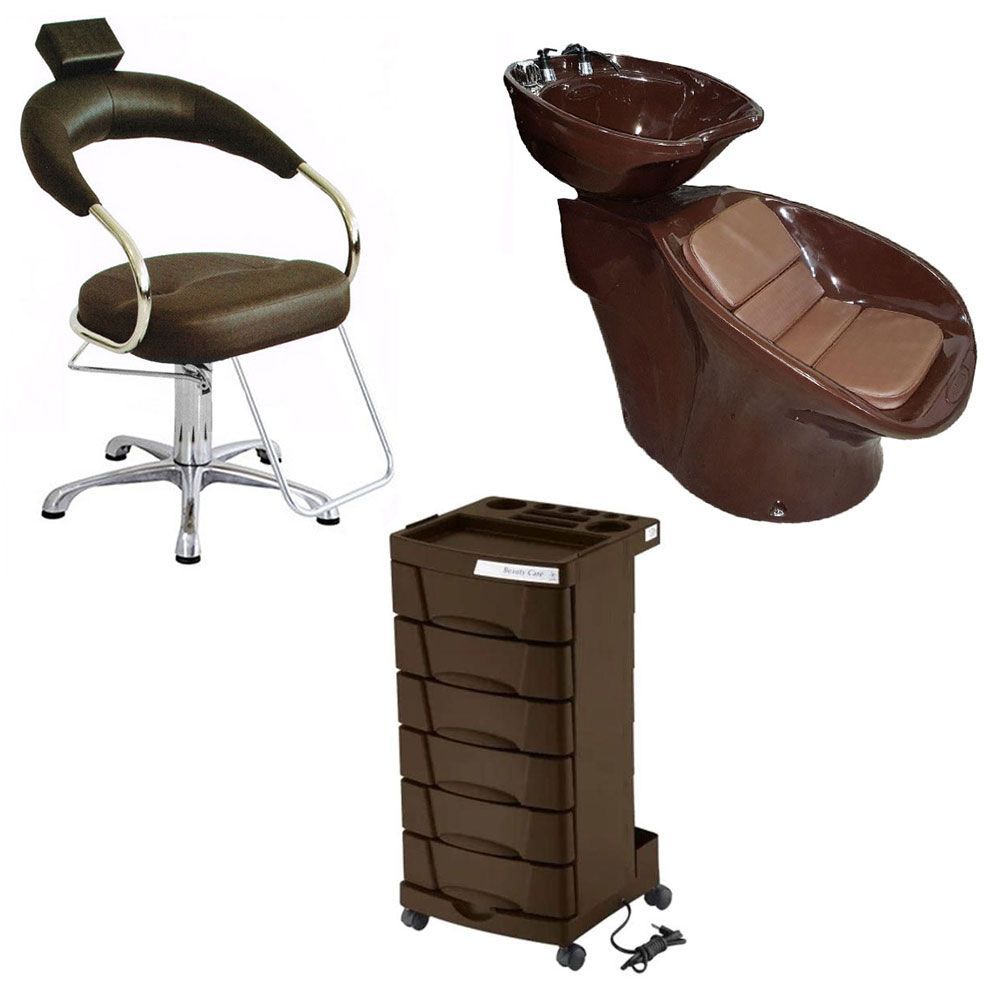 Kit Marrom Cadeira Futurama Hidráulica Base Alumínio + Lavatório Neon + Carrinho Beauty