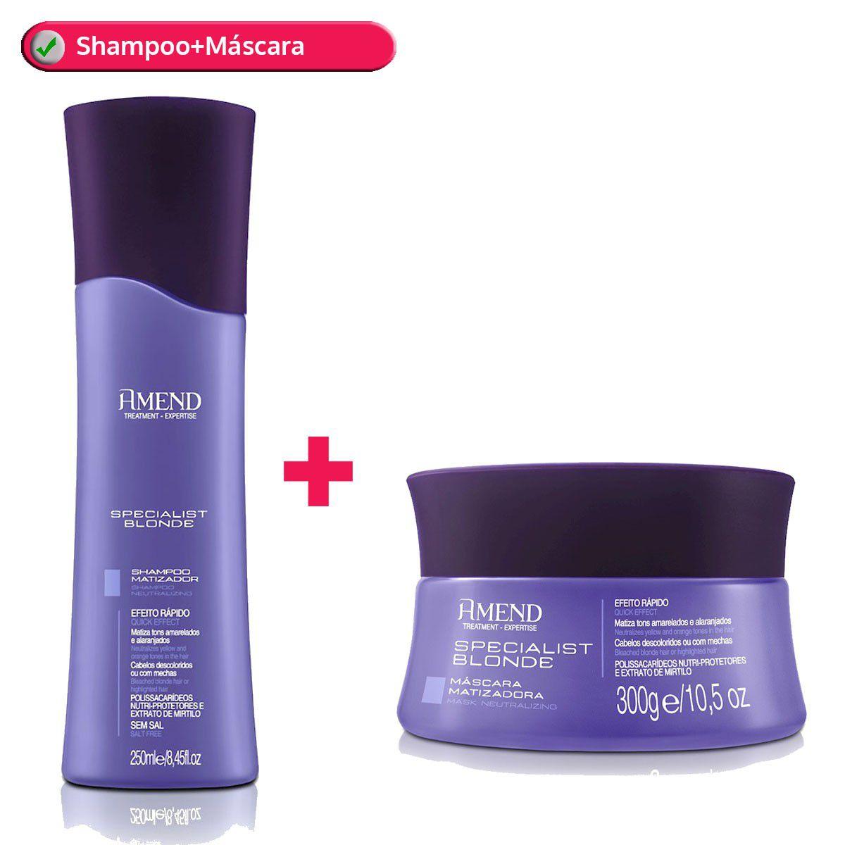 Kit Shampoo Matizador 250g+Máscara Matizadora 300g Specialist Blonde Amend