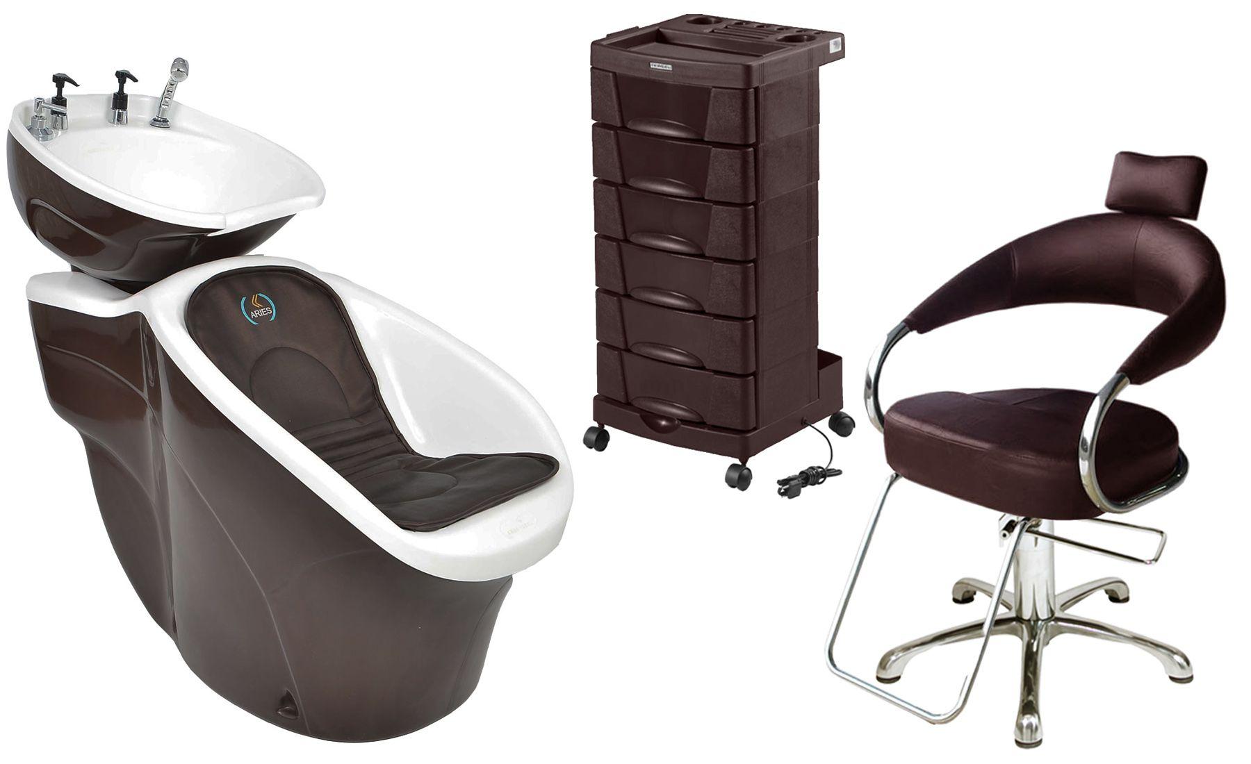 Lavatório Chic L-50 + Cadeira Hidráulica Futurama + Carrinho Beauty