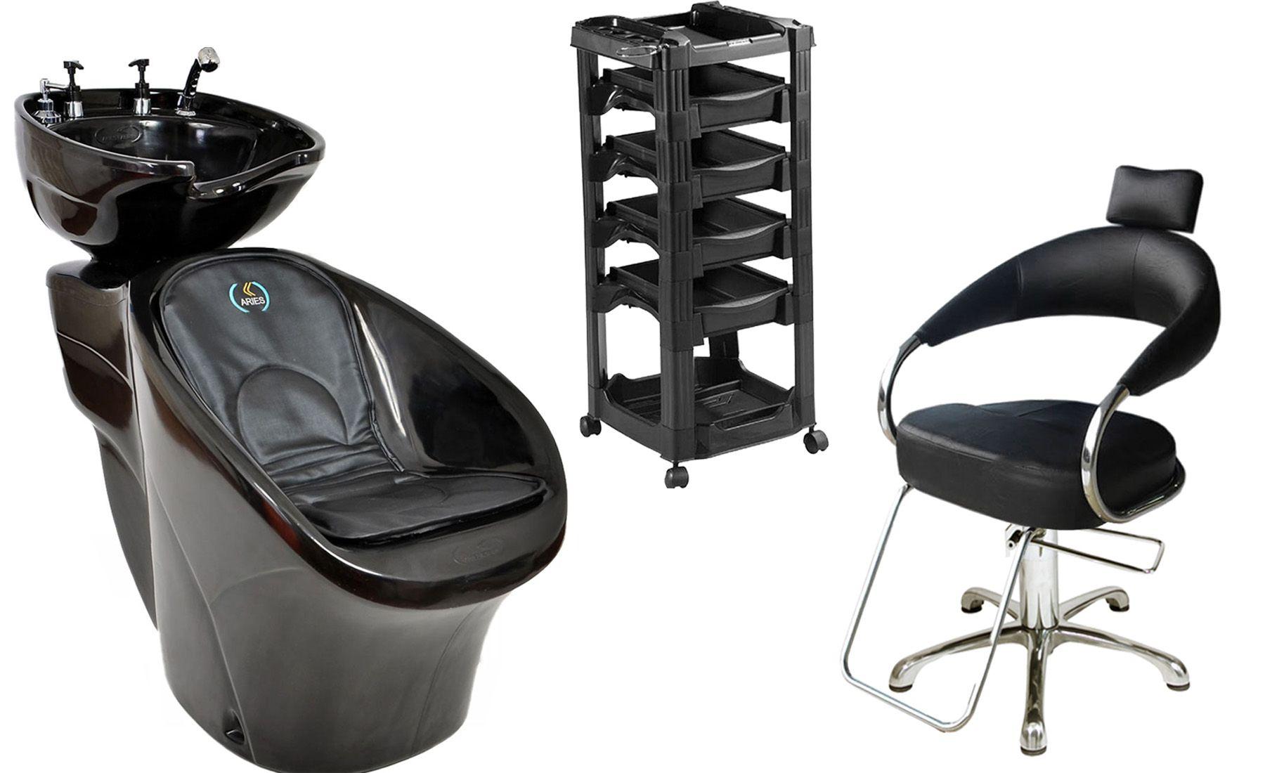 Lavatório Chic L-50 + Cadeira Hidráulica Futurama + Carrinho Vegas