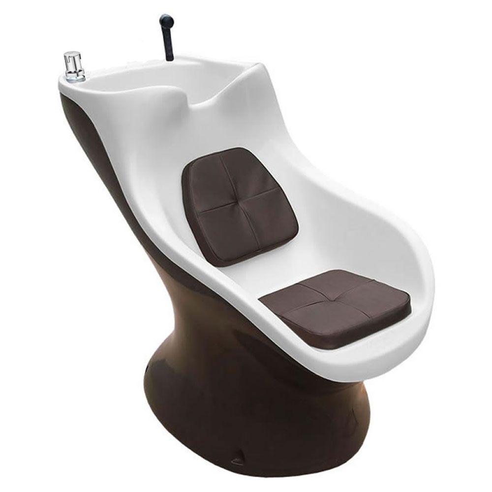 Lavatório Italiano Com Aquecedor Corpo Marrom/Topo Branco  + Cadeira Futurama Hidráulica Base Aluminio