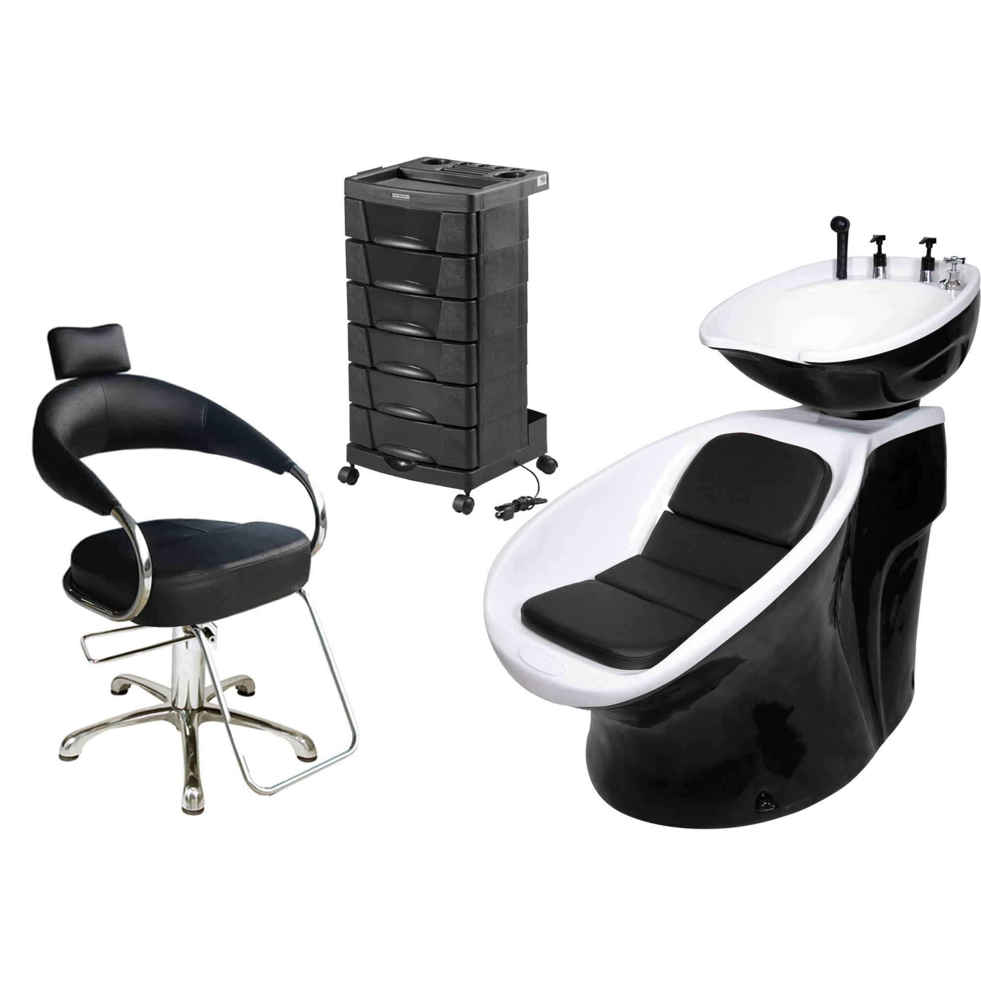 Lavatório Neon Retro + Cadeira Hidráulica Futurama + Beauty