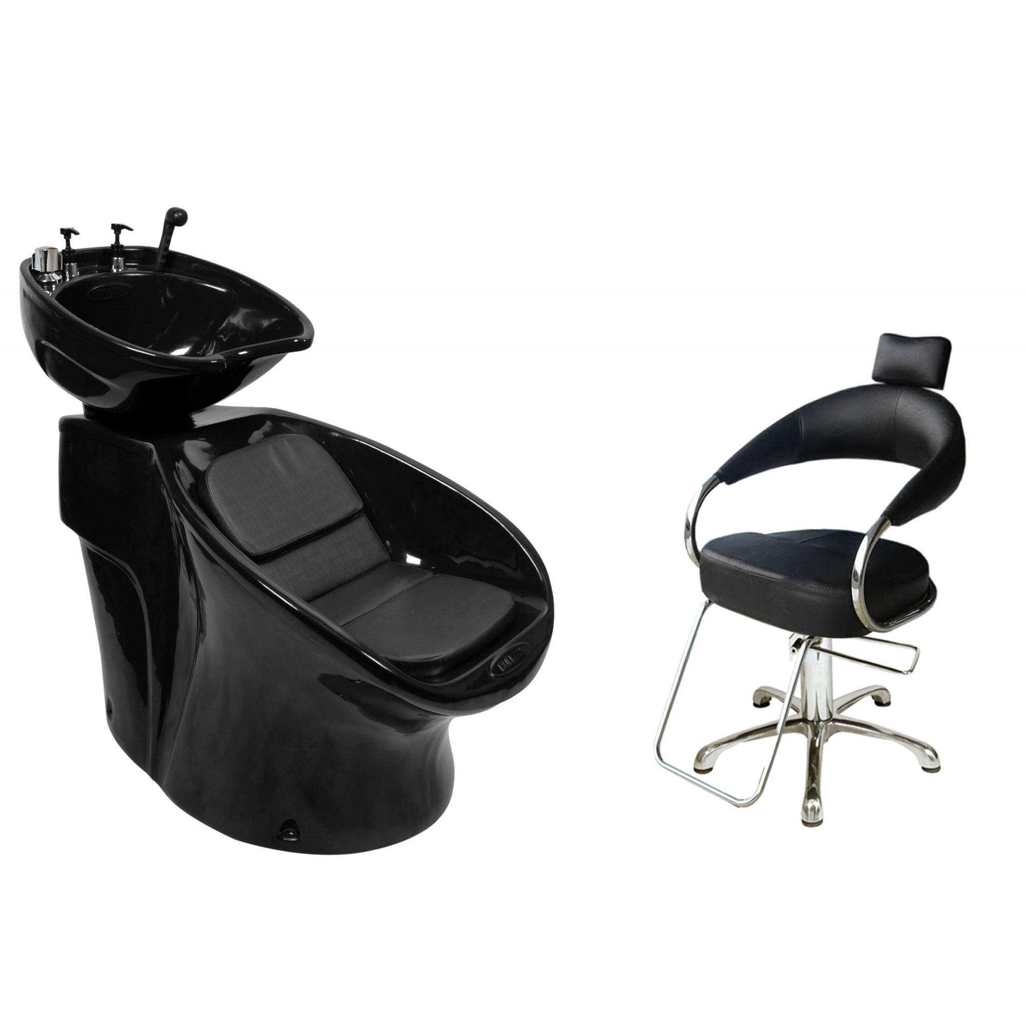 Lavatório Neon Shampoo + Cadeira Hidráulica Futurama - BF