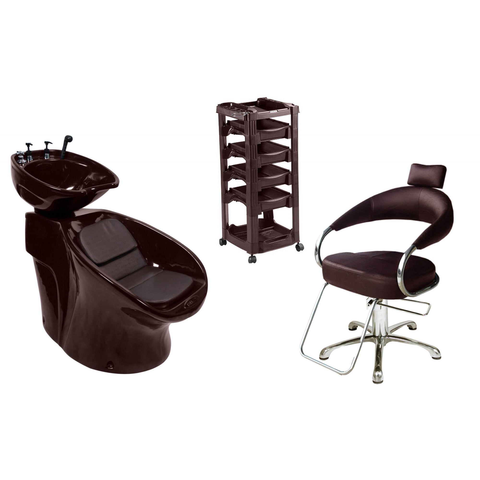 Lavatório Neon Shampoo + Cadeira Hidráulica Futurama + Vegas