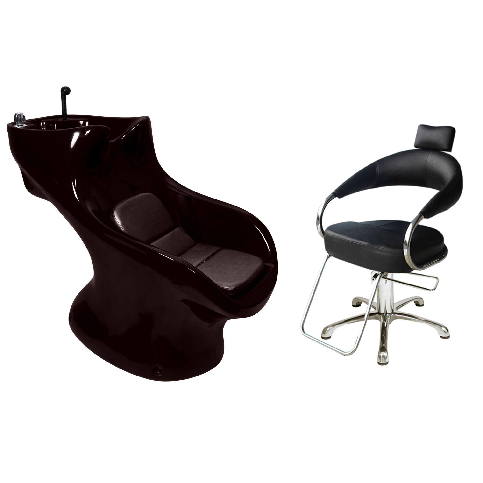 Lavatório Star Italiano + Cadeira Hidráulica Futurama Preta