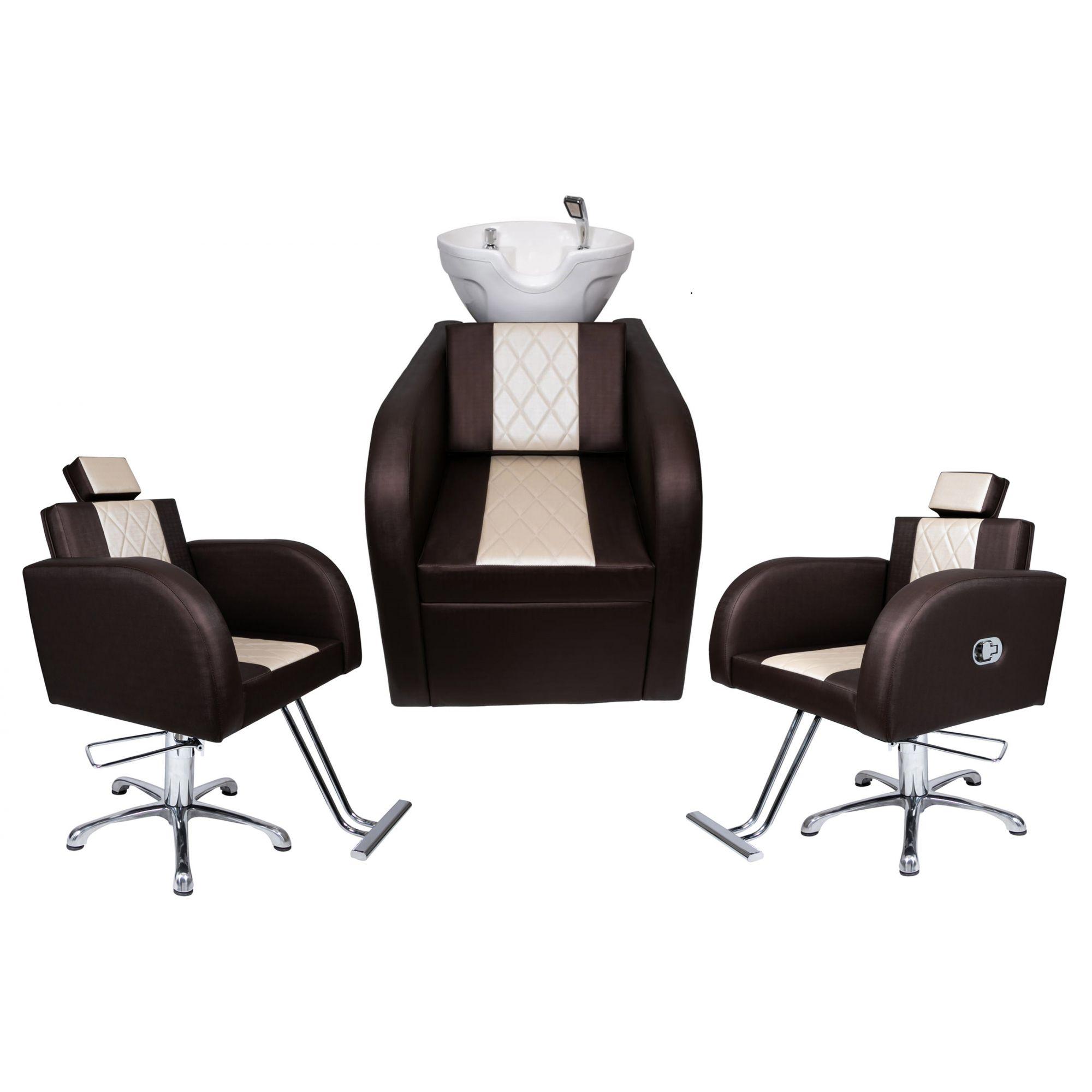 Lavatório Stilo Fibra Branca Bege/Marrom +1 Cadeiras Stilo Fixa +1 Cadeira Stilo Recl.