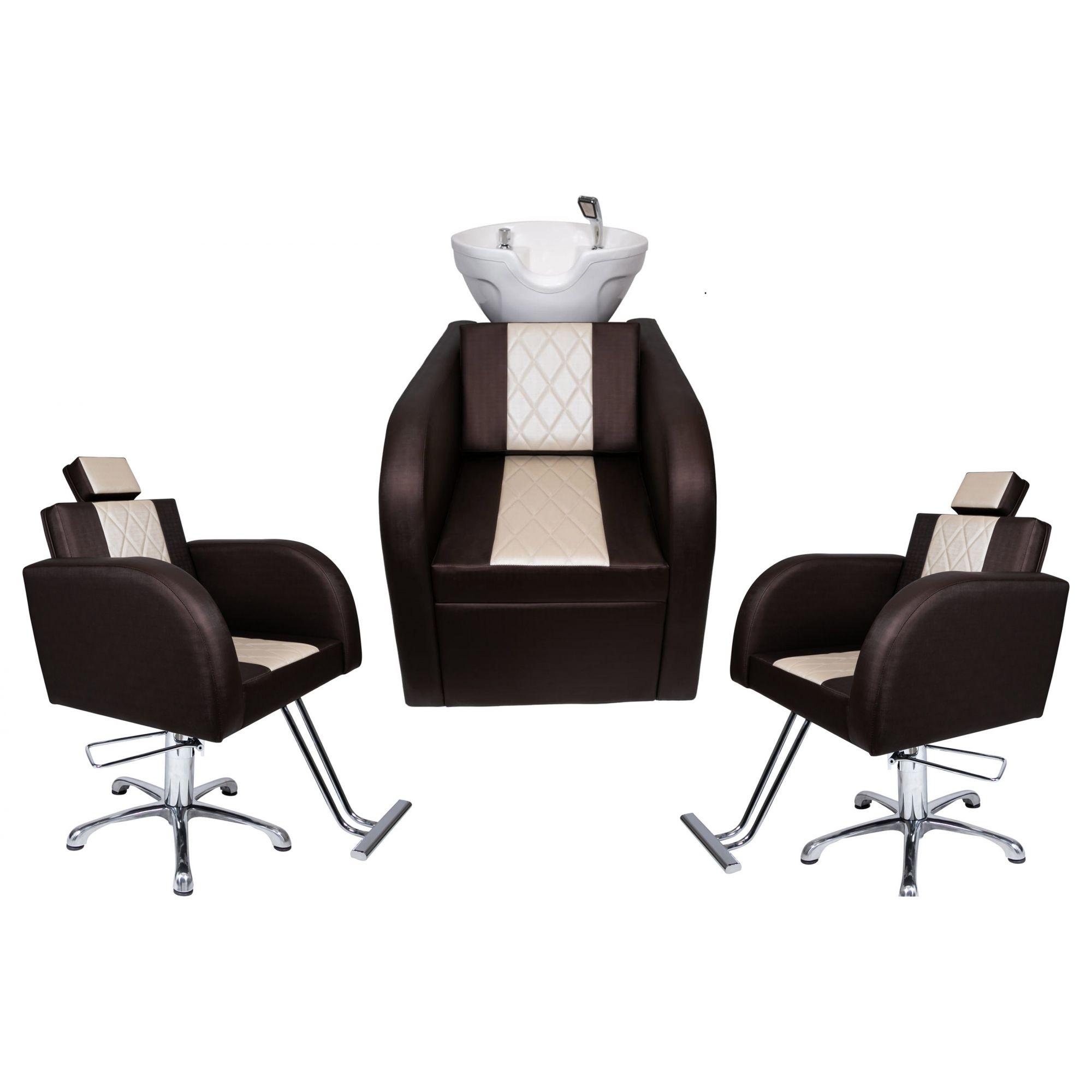 Lavatório Stilo Fibra Branca Bege/Marrom + 2 Cadeiras Stilo Fixa