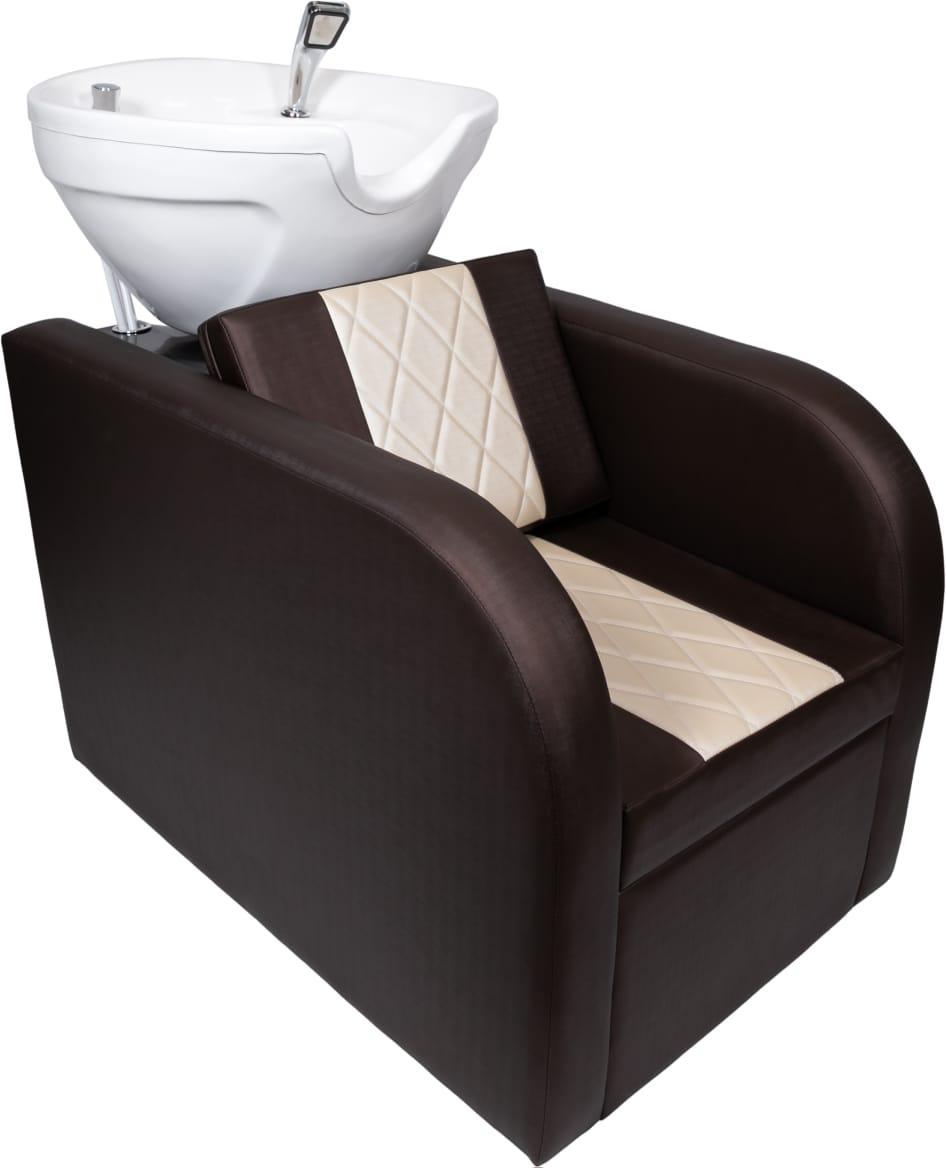 Lavatório Stilo Fibra Branca Bege/Marrom + 2 Cadeiras Stilo Recl.