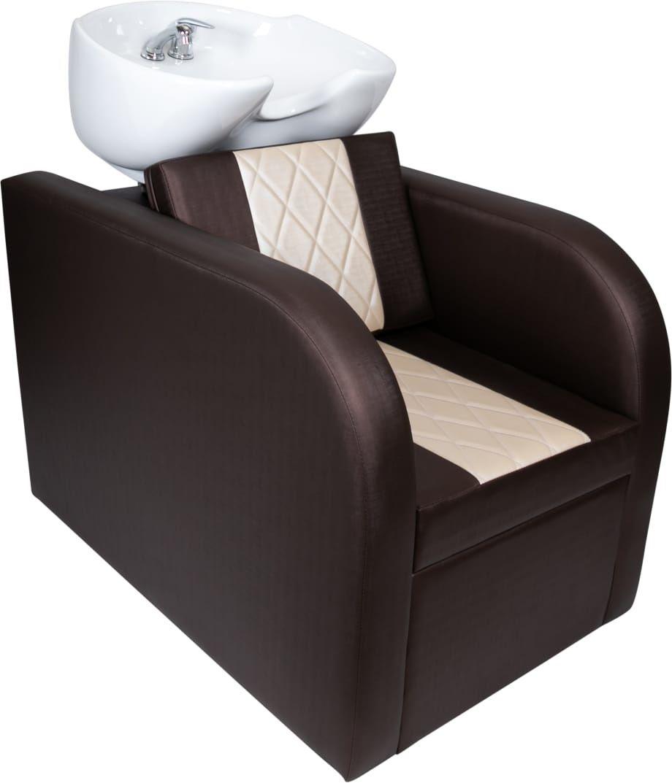 Lavatório Stilo Louça Bege/Marrom + 2 Cadeiras Stilo Fixa