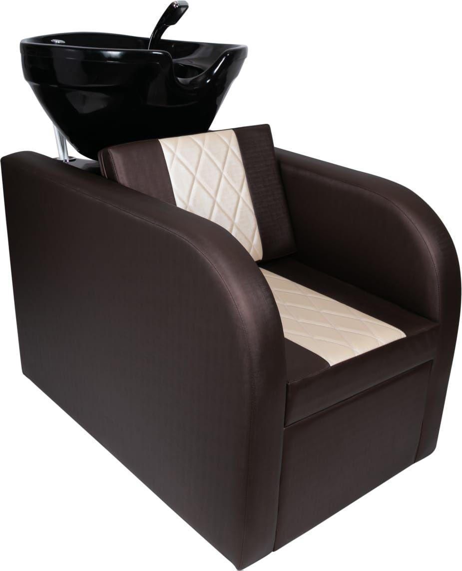 Lavatório Stilo Marrom/Bco - Cuba de FIBRA Preta + Cadeira Stilo Reclinavel
