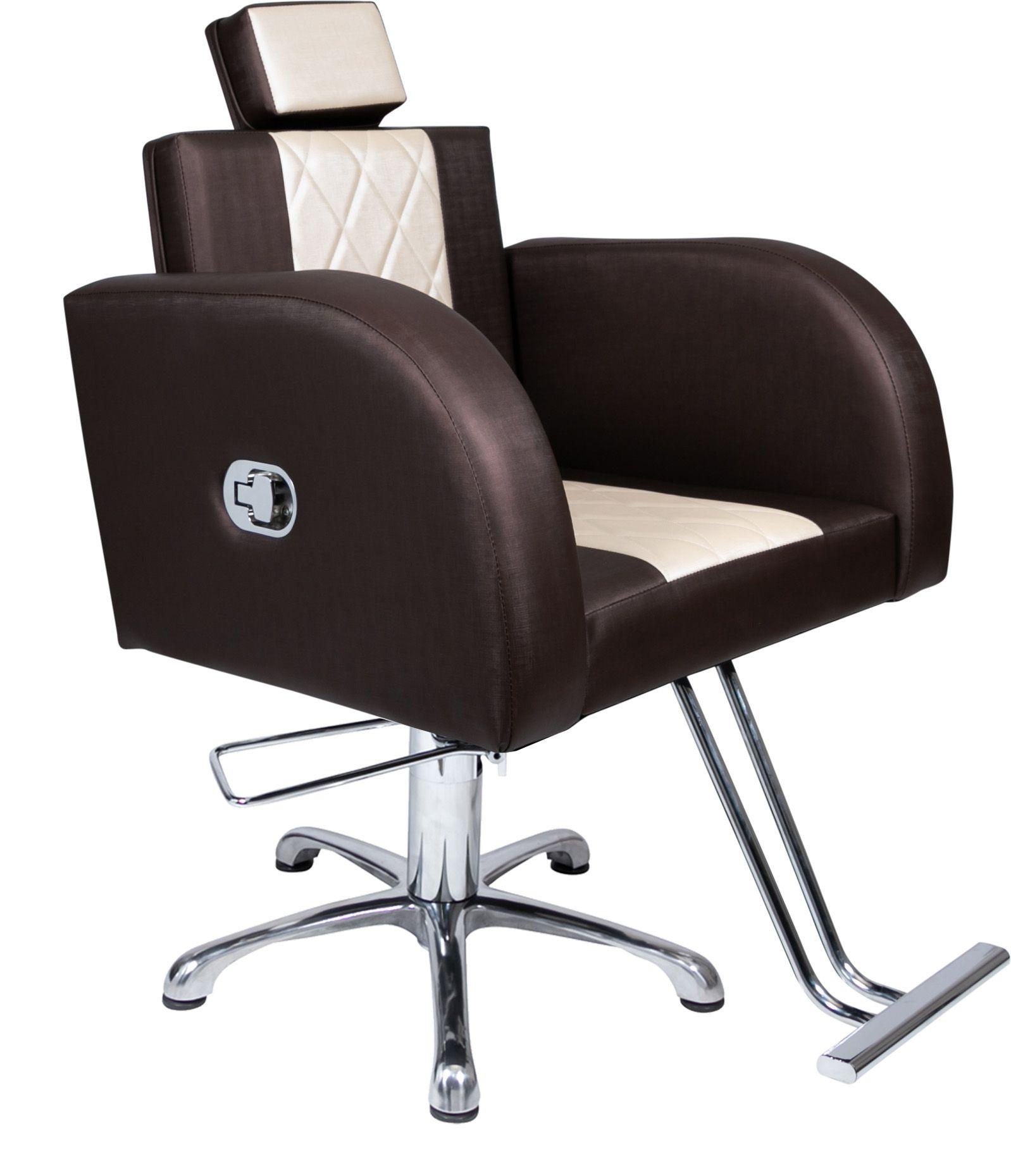Lavatório Stilo Marrom/Bco - Cuba de Louça + Cadeira Stilo Reclinavel