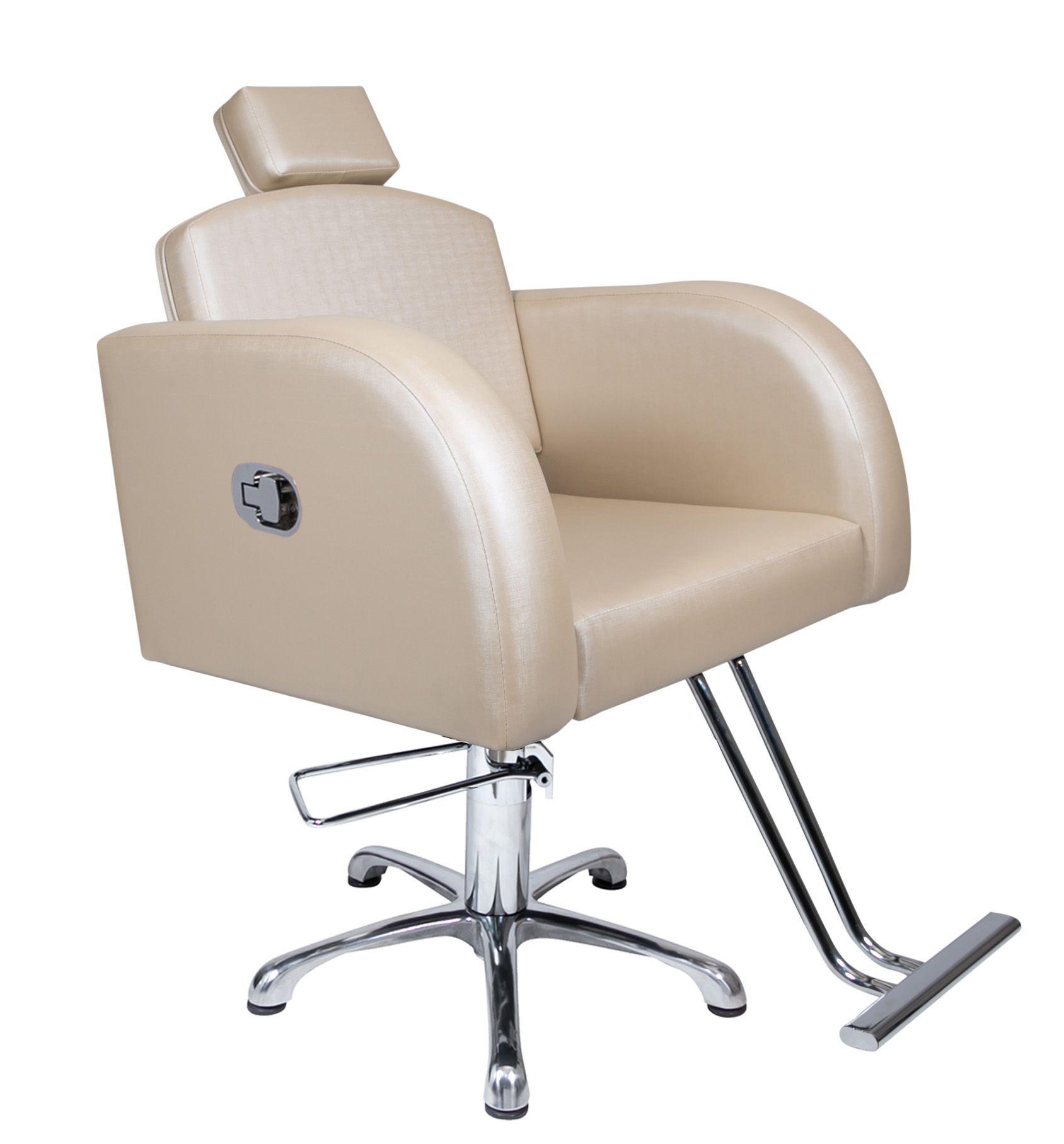 Poltrona Cadeira Hidráulica Destak Reclinável Para Salão Bege Factor