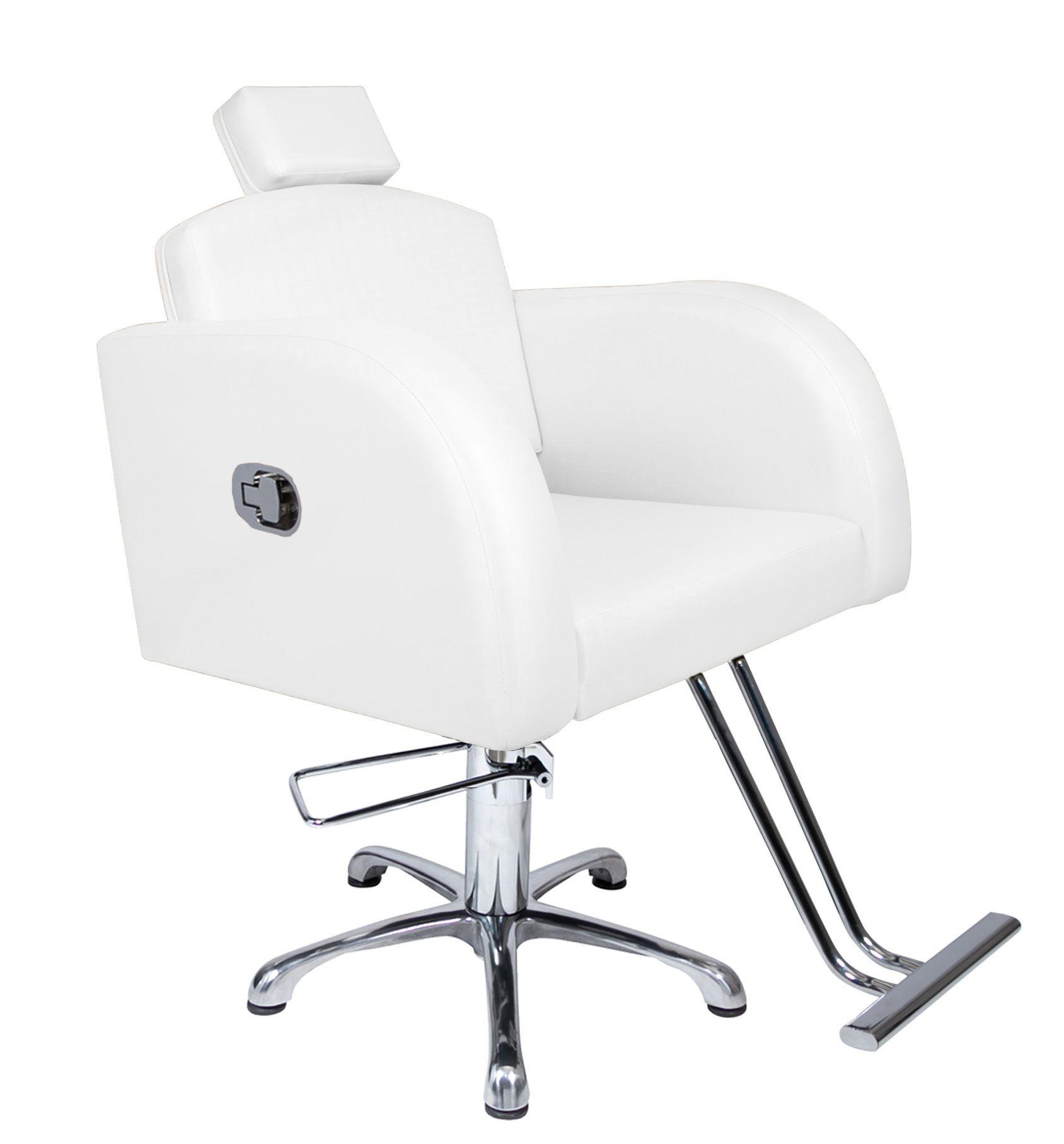 Poltrona Cadeira Hidráulica Destak Reclinável Para Salão Branco Factor
