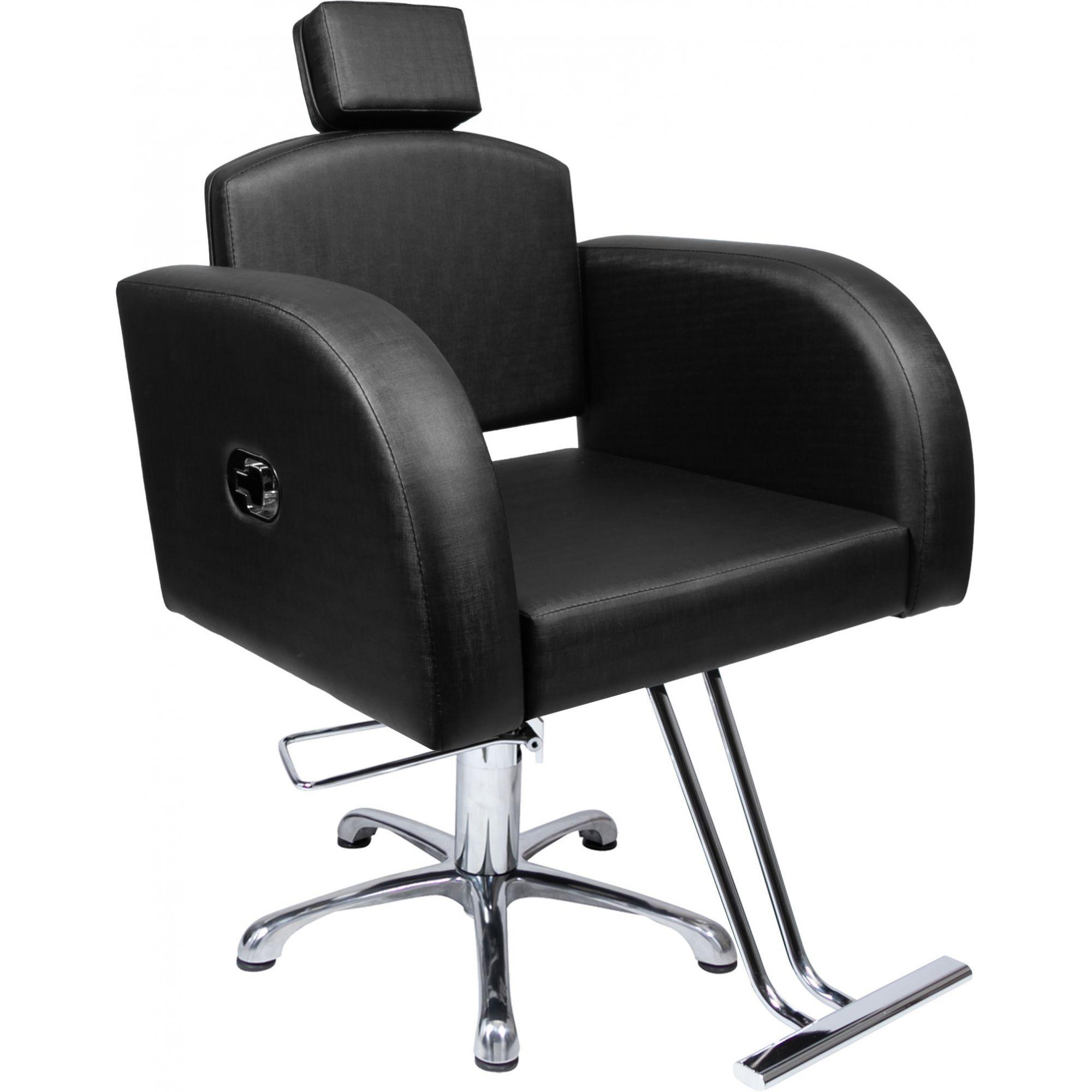 Poltrona Cadeira Hidráulica Destak Reclinável Para Salão Preto Factor