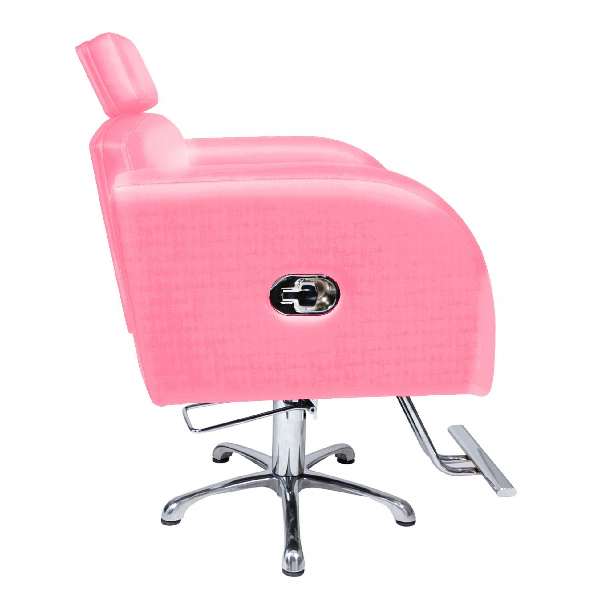 Poltrona Cadeira Hidráulica Destak Reclinável Para Salão Rosa Factor