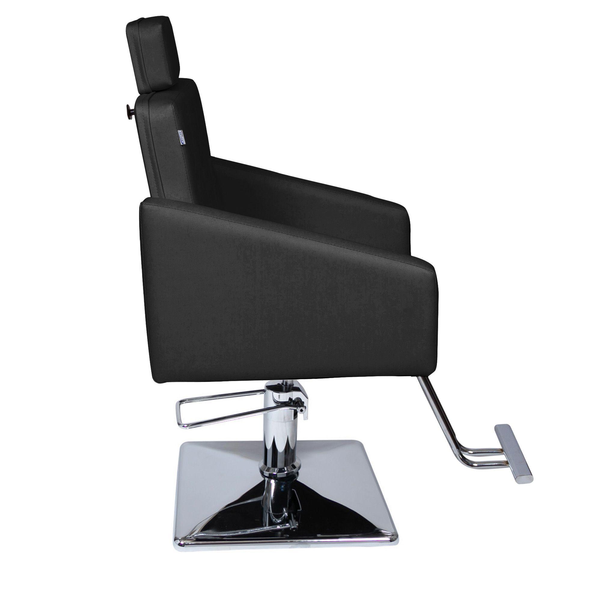 Poltrona Cadeira Hidráulica Diamante Fixa Para Salão - Base Quadrada