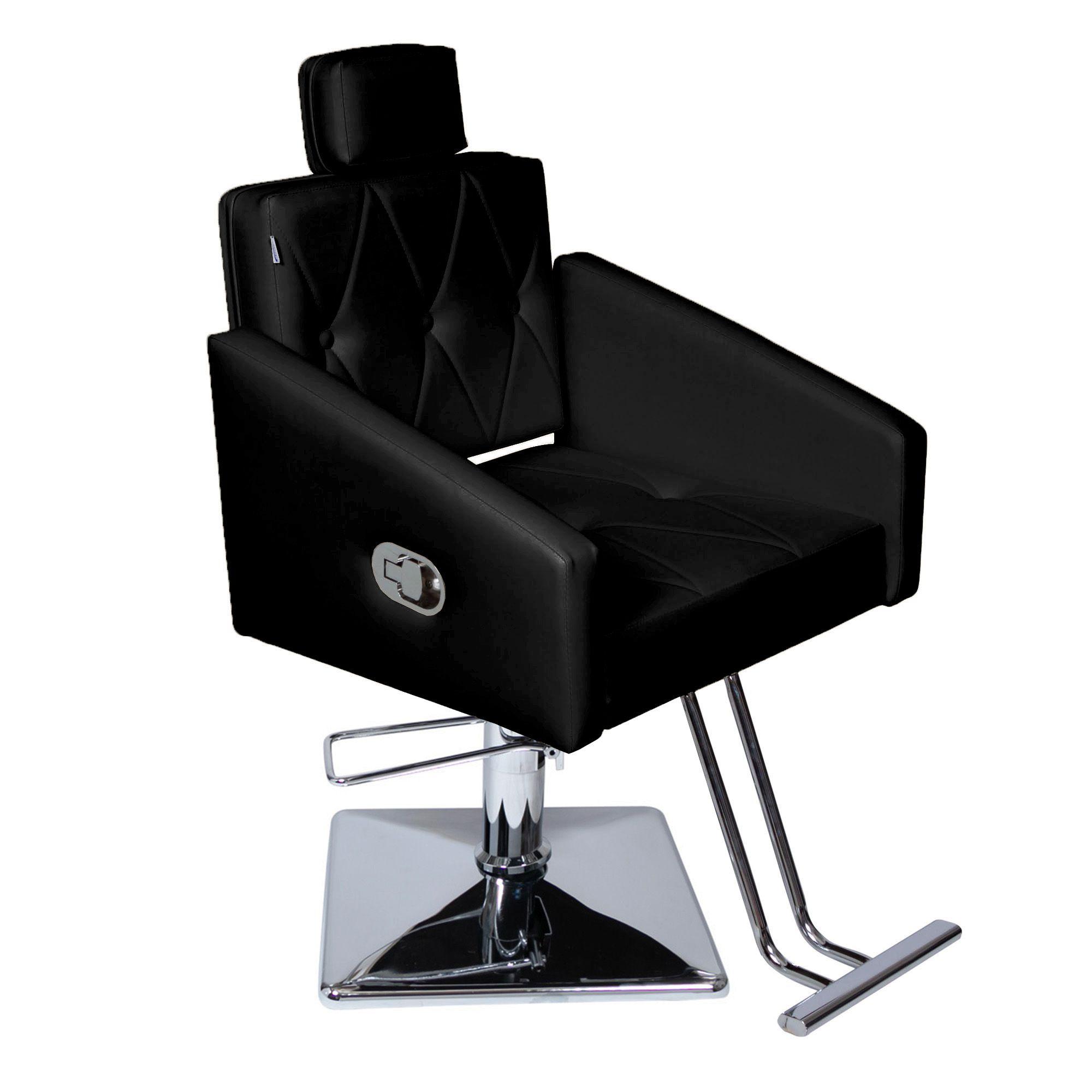Poltrona Cadeira Hidráulica Diamante Reclinável Para Salão - Base Quadrada