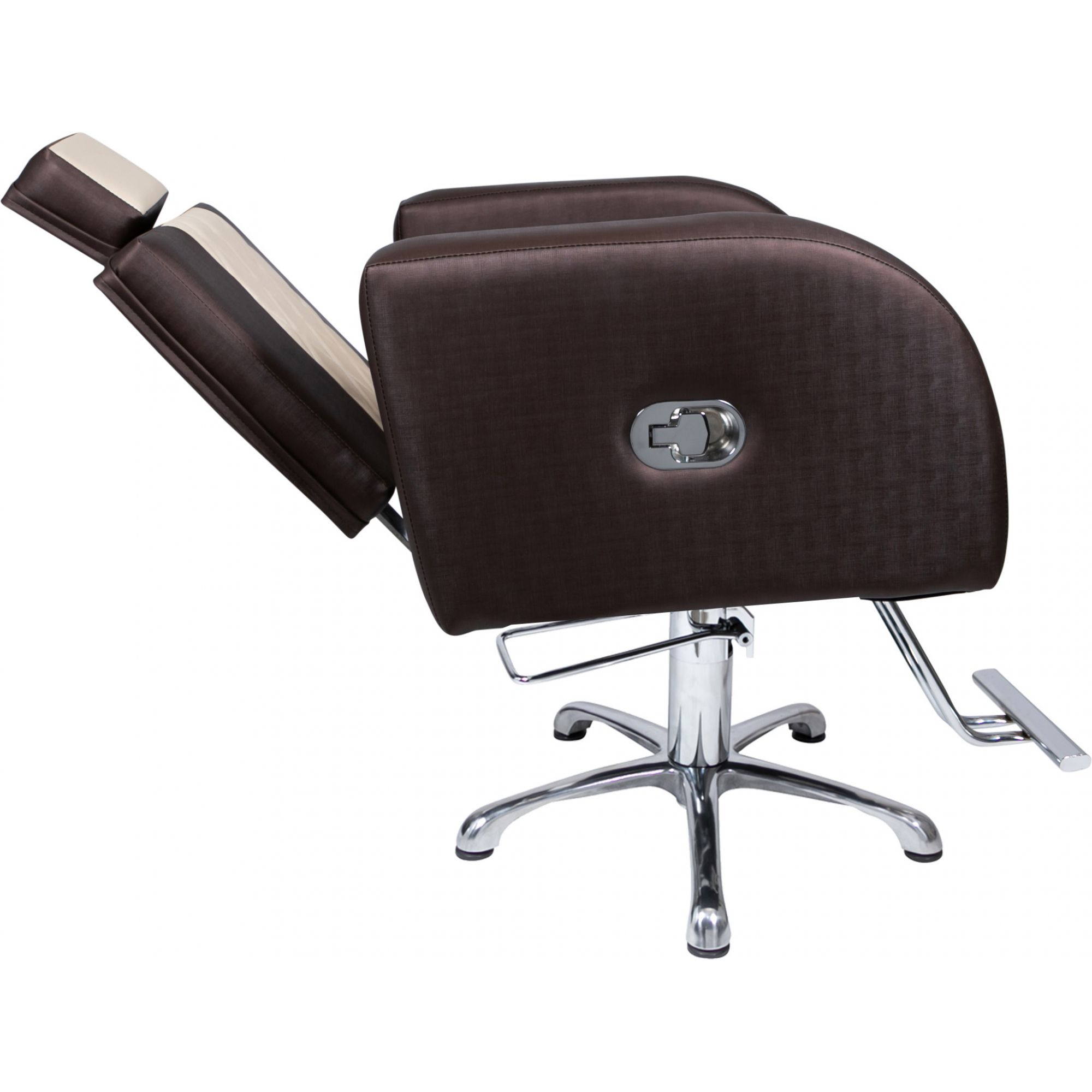 Poltrona Cadeira Hidráulica Stilo Reclínavel Bege/Marrom