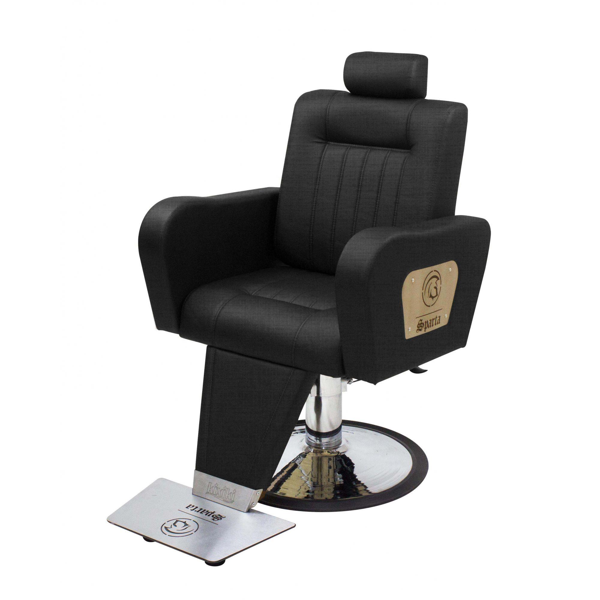 Poltrona Cadeira Kixiki Sparta Reclinável Para Barbeiro Preto