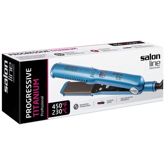 Prancha Azul Progressive Titanium Salon Line 230° Bivolt