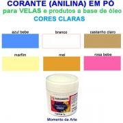 Corantes (anilina a óleo) para velas - pó   7g -  cores claras