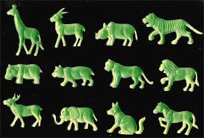Animais Selvagens Fosforescentes (Brilha no Escuro) 12 peças variadas