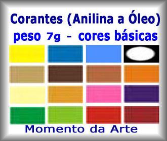 Corantes (anilina a óleo) para velas - pó   7g - cores básicas  - Momento da Arte