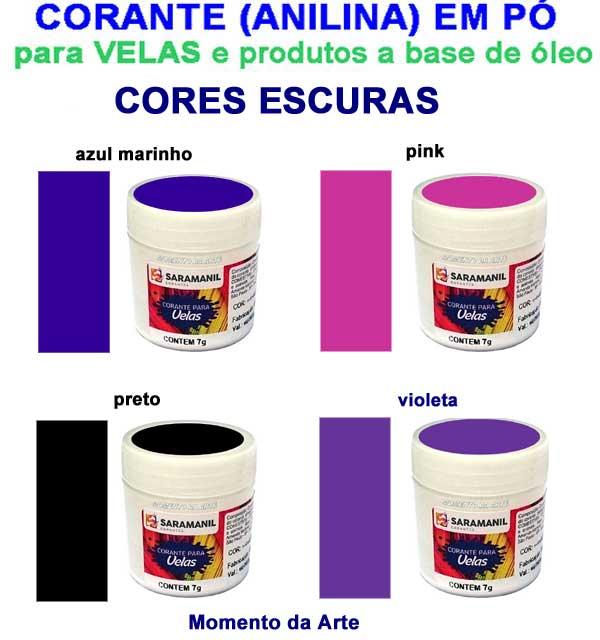 Corantes (anilina a óleo) para velas - pó   7g - cores escuras
