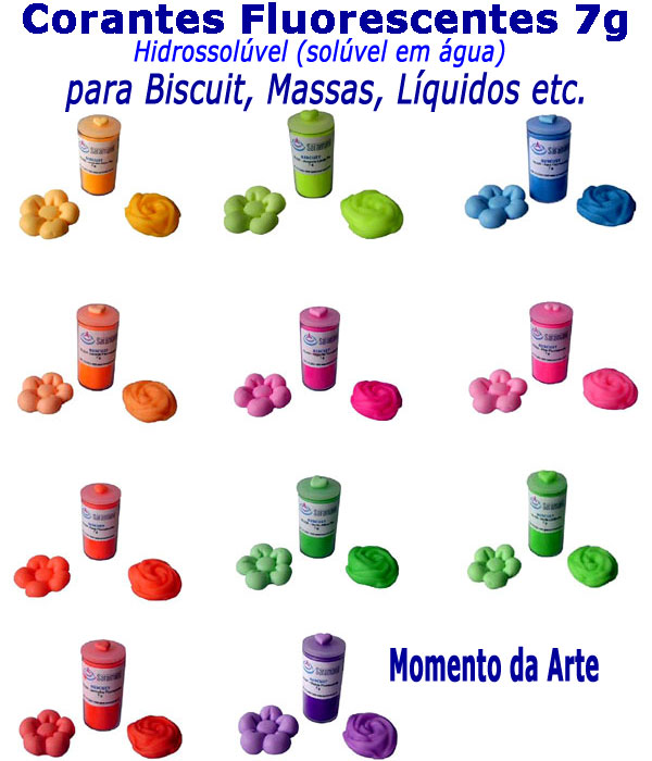 Corantes para biscuit pó 7g - cores fluorescentes  - Momento da Arte