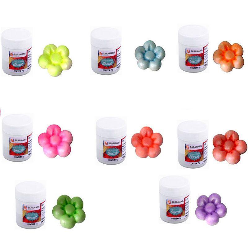 Corantes para biscuit pó 7g - cores fluorescentes com perolados