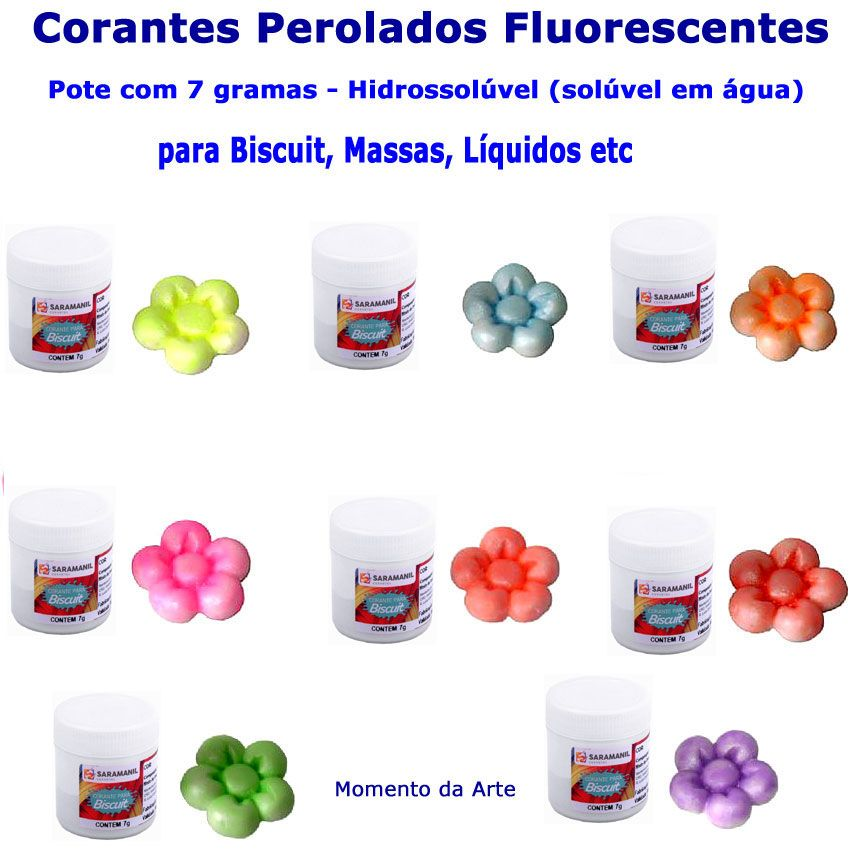 Corantes para biscuit pó 7g - cores fluorescentes com perolados  - Momento da Arte