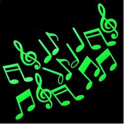Notas Musicais Fosforescentes (Brilha no Escuro) 12 peças + 3 Grátis  - Momento da Arte