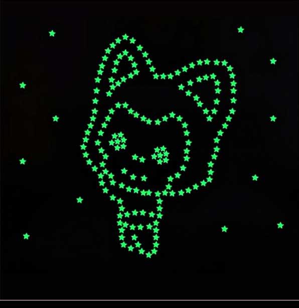 Estrelas 3 cm Fosforescentes (Brilha no Escuro) 100 estrelas + 100 adesivos