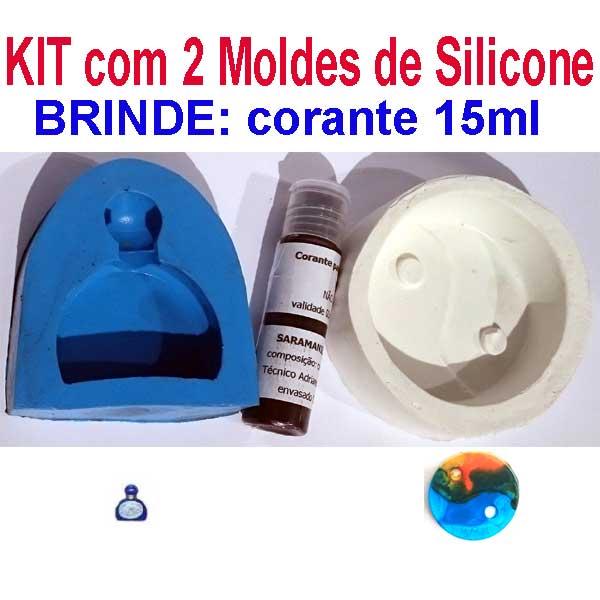 KIT com 2 moldes de Silicone para Sabonetes + BRINDE 15ml corante  - Momento da Arte