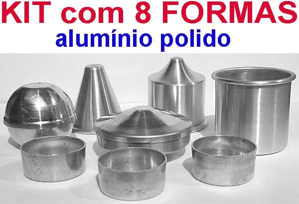 KIT com 8 Formas de alumínio para velas  - Momento da Arte