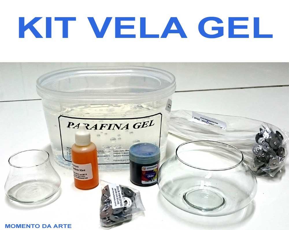 KIT VELA GEL (gel transparente, corantes, essência, ilhós, pavios e vidros)  - Momento da Arte