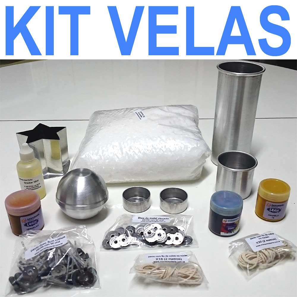 KIT VELAS ( parafina, corantes, formas de metal e alumínio, essência, ilhós, pavios duro e com núcleo)  - Momento da Arte