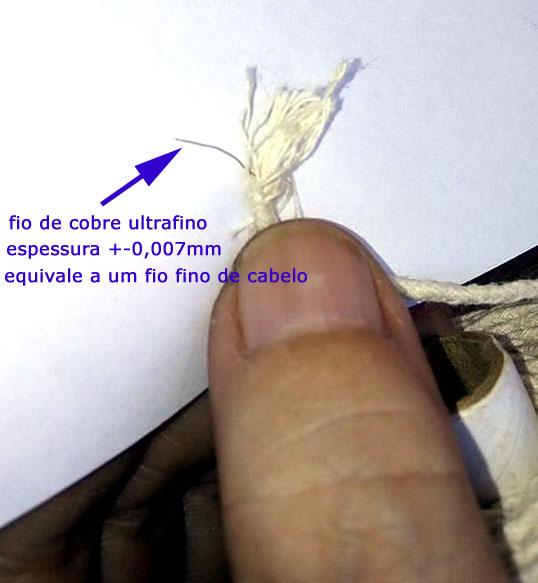 Pavios em rolo com fio de cobre no núcleo
